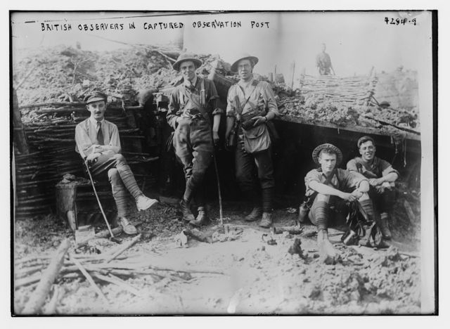 British observers in captured observation post
