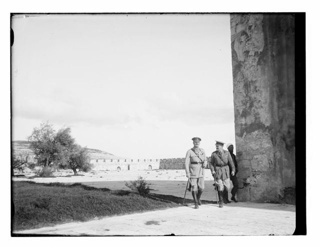 [British officers on the Temple Mount, near northeast corner of al Aqsa Mosque]