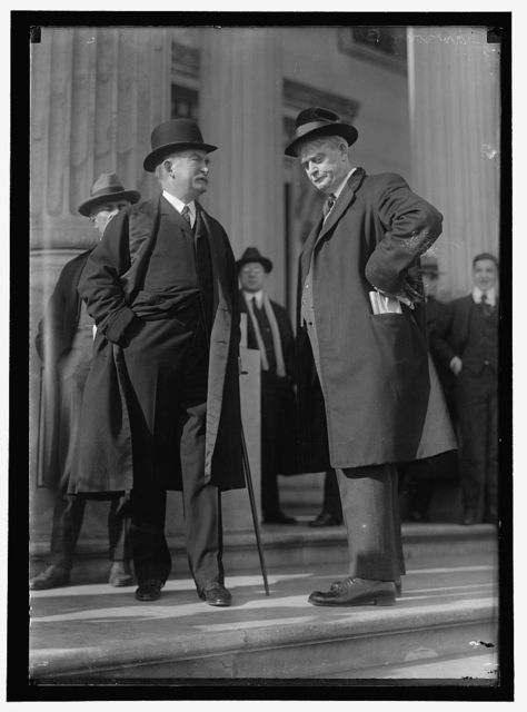BUCHANAN, FRANK. REP. FROM ILLINOIS, 1911-1917. RIGHT, WITH THOMAS W. LAWSON; LEAK HEARINGS