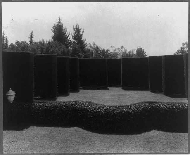 California - Santa Barbara - Formal hedges in garden of Mrs. Henry Bothin