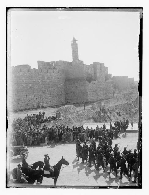 Capture and occupation of Palestine by British. British troops on parade at Jaffa Gate