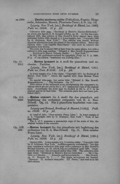 Catalogue of first editions of Edward MacDowell (1861-1908)