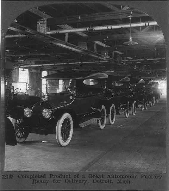 Completed product of a great automobile factory ready for delivery, Detroit, Mich.