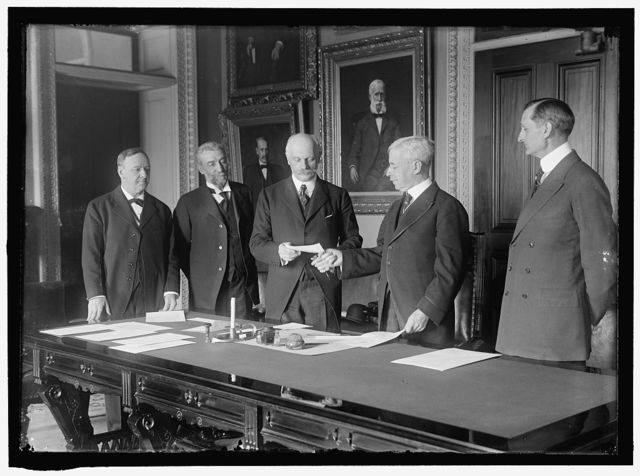 DANIELS, JOSEPHUS, SECRETARY OF THE NAVY, 1913-1921; BRUN, CONSTANTINE, AMBASSADOR FROM DENMARK; OLIVER, JAMES HARRISON, REAR ADMIRAL,U.S.N.; LANSING, ROBERT, SECRETARY OF STATE, 1915-1920; McADOO, WILLIAM GIBBS, SECRETARY OF THE TREASURY, 1913-1921; VIRGIN ISLANDS PURCHASE