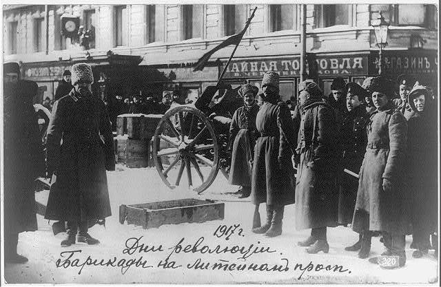 Days of revolution - barricades on the Liteinyi Prospect, Petrograd
