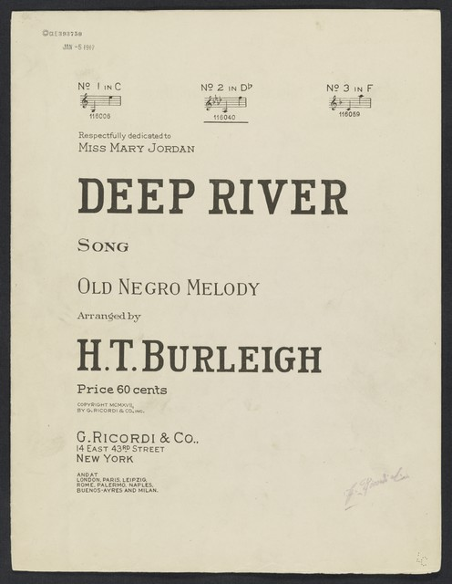 Deep river song : old Negro melody