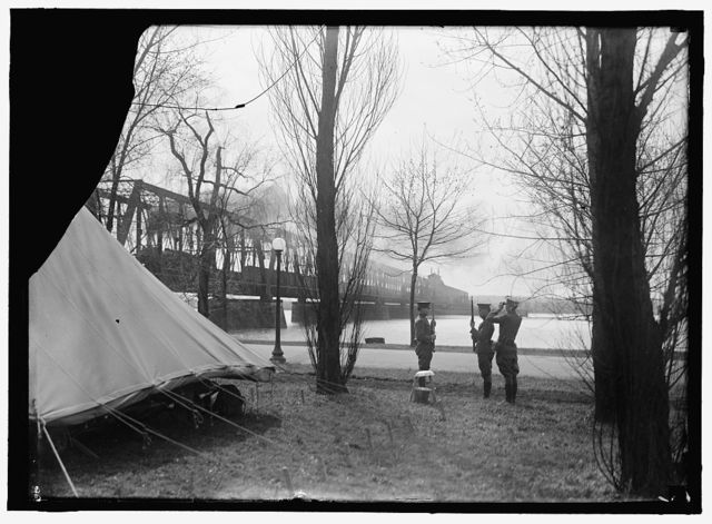 DISTRICT OF COLUMBIA PARKS. GUARDS IN POTOMAC PARK AT RAILWAY BRIDGE