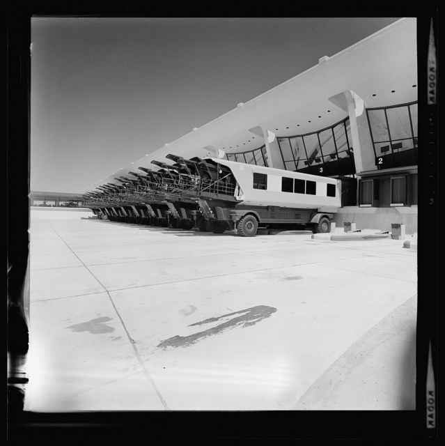 Dulles International Airport, Chantilly, Virginia, 1958-63 (Expanded by Skidmore, Owings & Merrill, 1998-2000). Mobile lounges