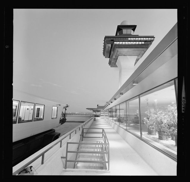 Dulles International Airport, Chantilly, Virginia, 1958-63 (Expanded by Skidmore, Owings & Merrill, 1998-2000). Mobile lounge and control tower