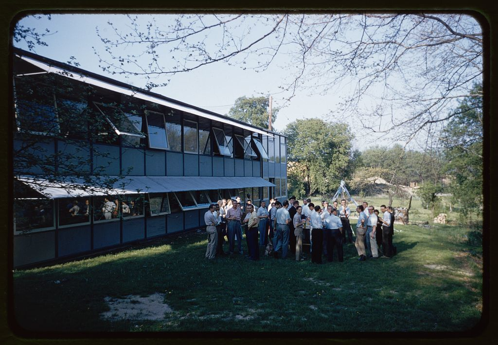 Eero Saarinen and Associates office with staff in foreground (Bloomfield Hills, Michigan).