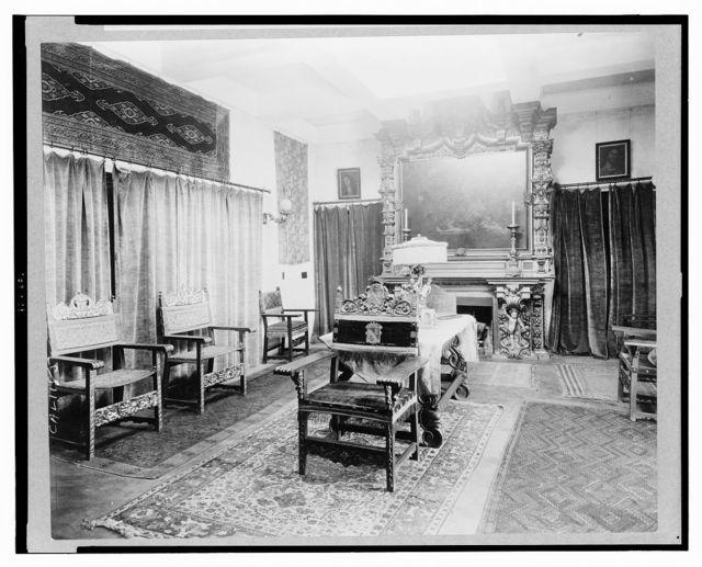 "[""El Fureidis,"" James Waldron Gillespie house, Parra Grande Lane, Montecito, California. Sitting room with Caravaggio, Supper of Eumeaus, 1606]"