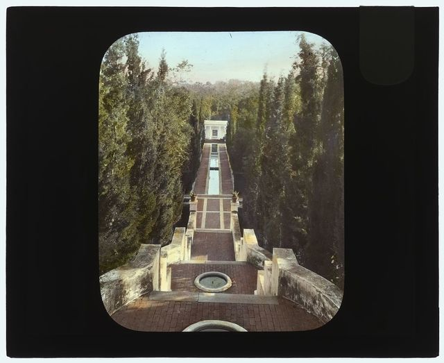 "[""El Fureidis,"" James Waldron Gillespie house, Parra Grande Lane, Montecito, California. View from house to casino]"