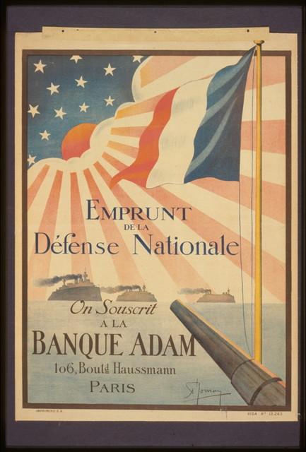 Emprunt de la Défense Nationale. On souscrit à la Banque Adam