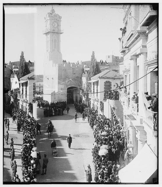 Entry of Field Marshall Allenby, Jerusalem, December 11, 1917. British troops lining the streets of Jerusalem