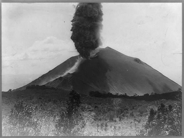 Eruption of volcano, San Salvador