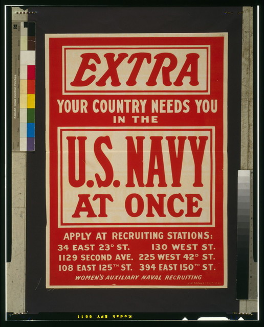 Extra--Your country needs you in the U.S. Navy at once Women's Auxiliary Naval Recruiting / / J. H. Tooker Print Co., N.Y..