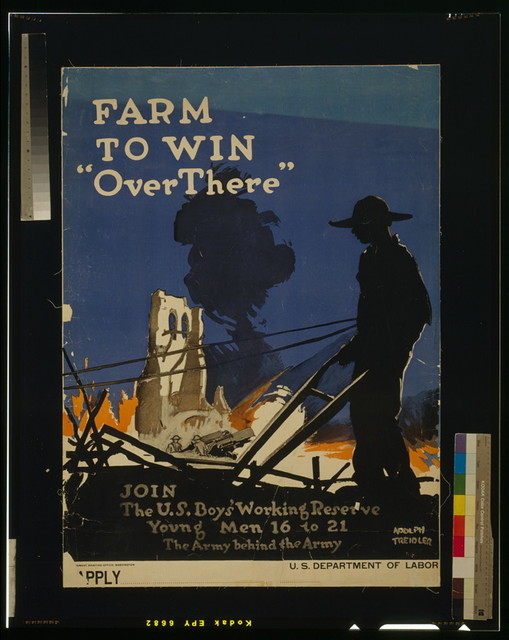"Farm to win ""over there"" - Join the U.S. Boys' Woking Reserve Young men 16 to 21 - The army behind the Army / / Adolph Treidler ; Government Printing Office."