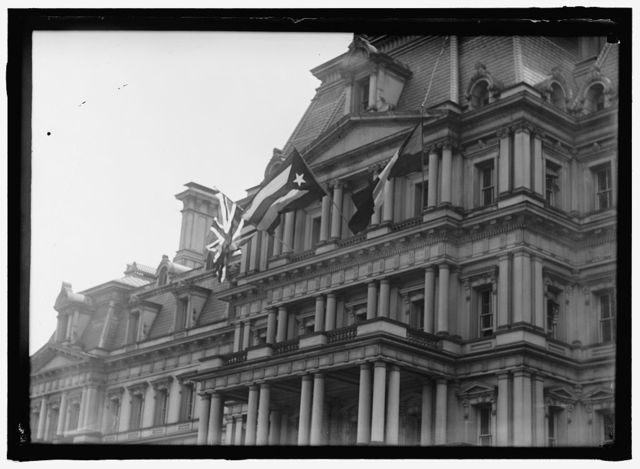 FLAGS. AMERICAN, BRITISH, AND FRENCH FLAGS ON STATE DEPARTMENT. VISIT OF ALLIED COMMISSION