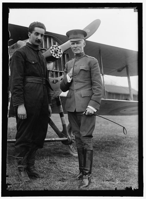 FLECHERE, GEORGES. LIEUT. FRENCH ARMY, AVIATOR. LEFT, WITH GENERAL SQUIRE