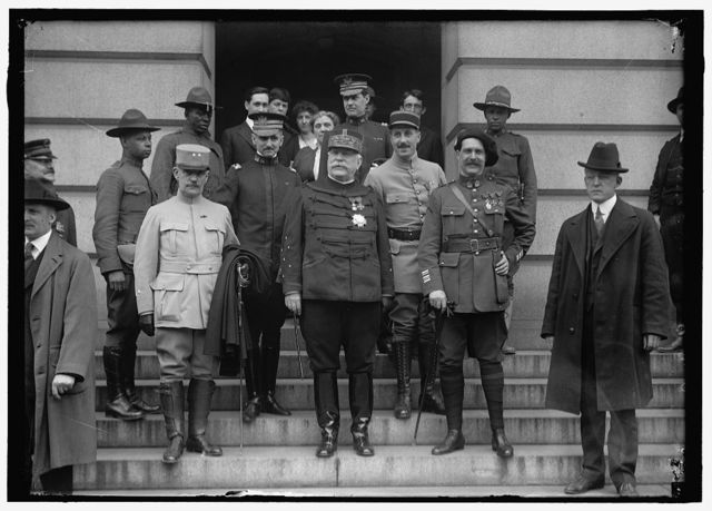 FRENCH COMMISSION TO U.S. AT STATE DEPT. GEN. DUVAL; S. CROSBY, U.S.N.; MARSHALL JOFFRE; LT.TESSON; COL.FABRE. ABOVE JOFFRE IS CAPT. U.S. GRANT, 3RD, U.S.A.