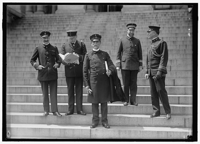 FRENCH COMMISSION TO U.S. NAVAL OFFICERS AT STATE DEPT.; LT. SIMON; PAYMASTER LINDEBOOM; VICE-ADMIRAL CHOCHEFRAT; COMDR. BOMPREZ; LT. COMDR. ALLEN BUCHANAN, U.S.N.