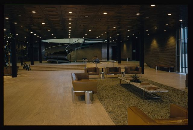 General Motors Technical Center, Warren, Michigan, 1945; 1946-56. Administration Building lobby and stair