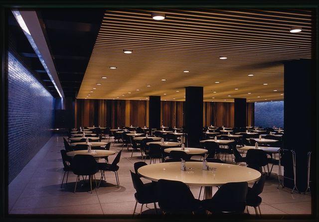 General Motors Technical Center, Warren, Michigan, 1945; 1946-56. Cafeteria interior