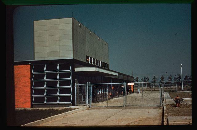 General Motors Technical Center, Warren, Michigan, 1945; 1946-56. Exterior [service center?]