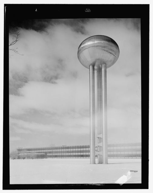 General Motors Technical Center, Warren, Michigan, 1945; 1946-56. Water tower