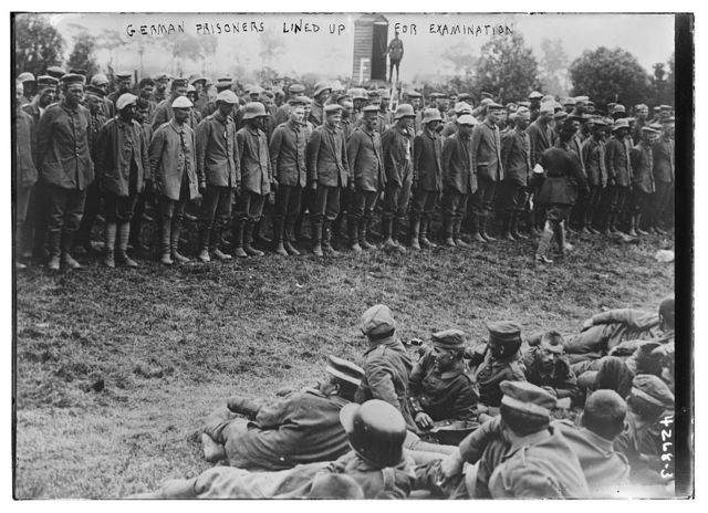 German prisoners lined up for examination
