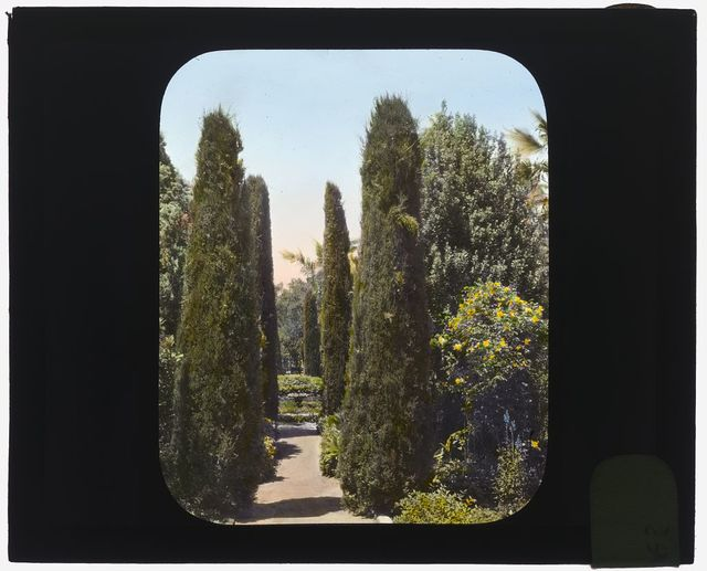 "[""Glendessary,"" Robert Cameron Rogers house, Glendessary Lane, Mission Heights, Santa Barbara, California. Along the fountain walk]"