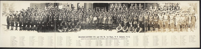 Headquarters Co. and Co. H, 1st Regt., N.Y. Infantry, N.G., about to leave Binghamton for training camp at Spartanburg, S.C., August, 1917