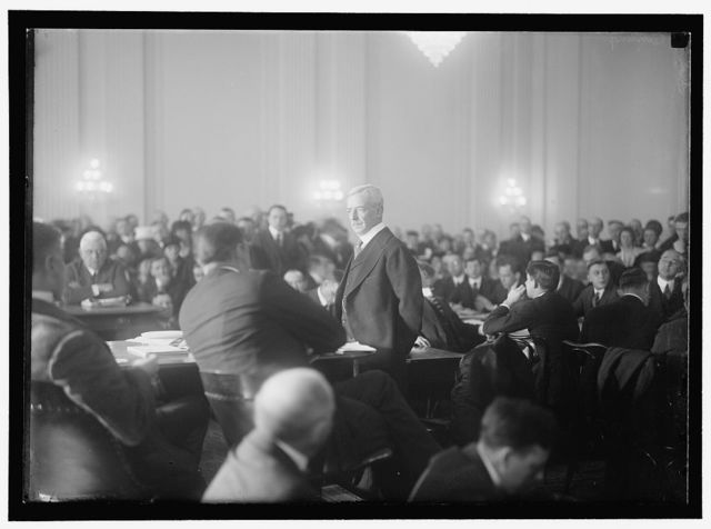 HOUSE OF REPRESENTATIVES COMMITTEES. COMMITTEE TO INVESTIGATE THE ALLEGED DIVULGENCE OF PRESIDENT'S NOTE TO BELIGERENT POWERS, POPULARLY CALLED 'LEAK HEARINGS.' LANSING TESTIFYING; FOSTER OF OHIO, LEFT