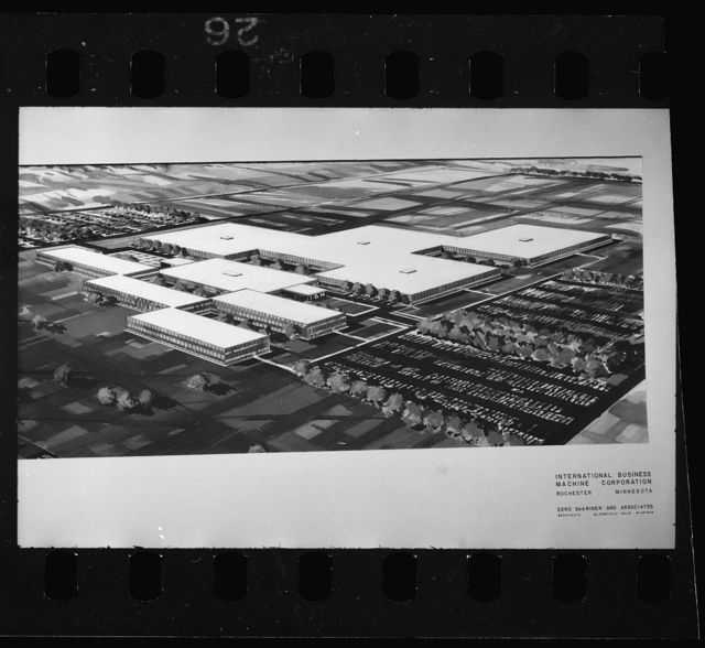 IBM Manufacturing and Administrative Center, Rochester, Minnesota, 1956-58. Aerial perspective