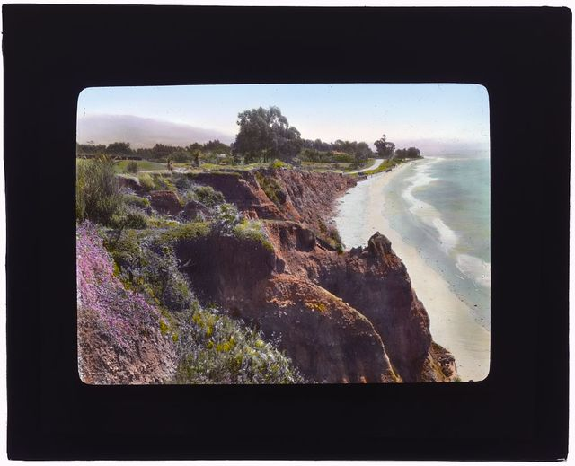 """[""""Inellan,"""" Walter Douglas  house, Channel Drive, Montecito, California. View from pergola overlooking the Pacific Ocean]"""