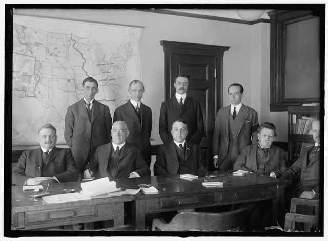 INTER-DEPARTMENTAL COMMITTEE. CONFIDENTIAL COORDINATING COMMITTEE. EACH MEMBER APPOINTED FROM A DEPARTMENT AT REQUEST OF PRESIDENT. SEATED: S.W. STRATTON, CHIEF, BUREAU OF STANDARDS; WILLIAM C. FITTS, ASST. ATTORNEY GENERAL; WILLIAM INGRAHAM, ASST. SEC. OF WAR; L.F. POST, ASST. SEC. OF LABOR; W.S. GIFFORD