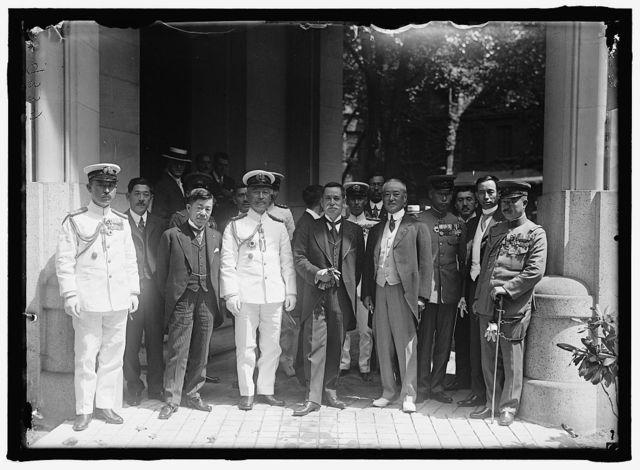 JAPANESE MISSION TO U.S. ARRIVED AUGUST 13, 1917. COMDR. ANDO, IMPERIAL JAPANESE NAVY; MASSANAO HANIHARA, CONSUL GEN. AT SAN. FR.: VICE ADM. TAKESHITA;VISCOUNT ISHII, HEAD OF THE MISSION; AMBASSADOR SATO; MAJ. GEN. SUGANO WITH MEDALS; MATSUZONAG