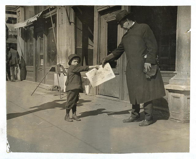 """[John Dowers, 7 years old, lives at 108 W. Frisco St. Starts out at 5 a.m. some days. Father is blind and sells newspapers. John is a pretty good beggar. Was seen trying to borrow a dollar from the bank to """"get father a watch"""" (father is blind).]  Location: [Oklahoma City, Oklahoma] / [Lewis W. Hine]"""