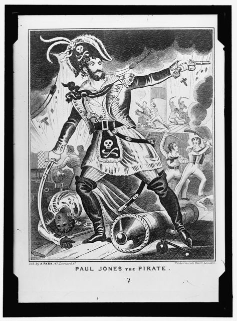 JONES, JOHN PAUL. CARTOON, 'PAUL JONES THE PIRATE,' DONE IN LONDON