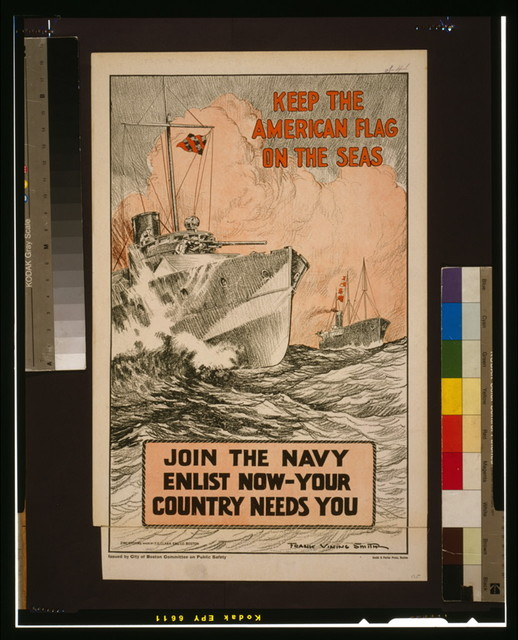 Keep the American flag on the seas Join the Navy--Enlist now-your country needs you / / Frank Vining Smith ; Zinc etching made by F.O. Clark Eng. Co. Boston.