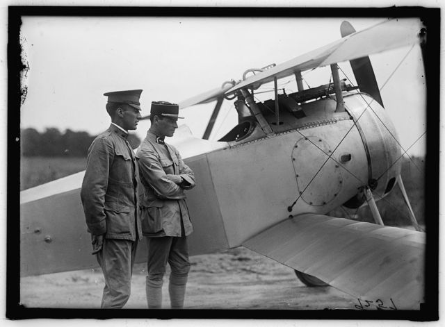 LANGLEY FIELD, VA. FRENCH NIEUPORT PLANE, TYPE 17, WITH CAPT. J.C. BARTOLF AND LT. E. LeMAITRE