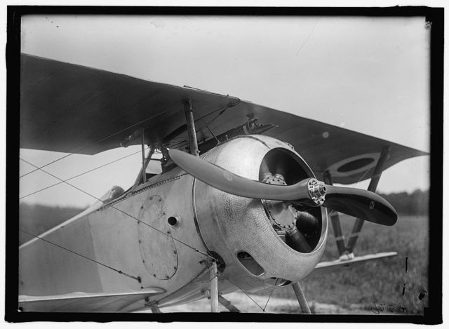 LANGLEY FIELD, VA. FRENCH NIEUPORT PLANE, TYPE 17, WITH GNOME ROTARY ENGINE AND CHAUVIERE PROPELLER