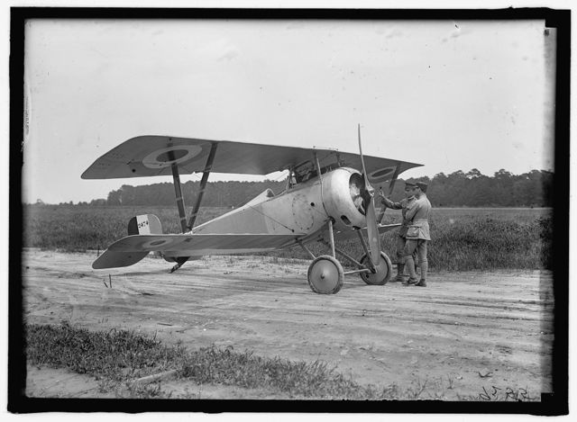 LANGLEY FIELD, VA. FRENCH NIEUPORT PLANE, TYPE 17, WITH LT., E. LeMAITRE AND CAPT. J.C. BARTOLF