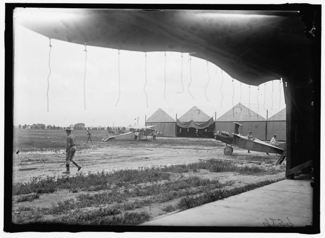 LANGLEY FIELD, VA. HANGERS: PLANES, LEFT TO RIGHT: CURTISS JN4D, AND KIRKHAM TRIPLANE