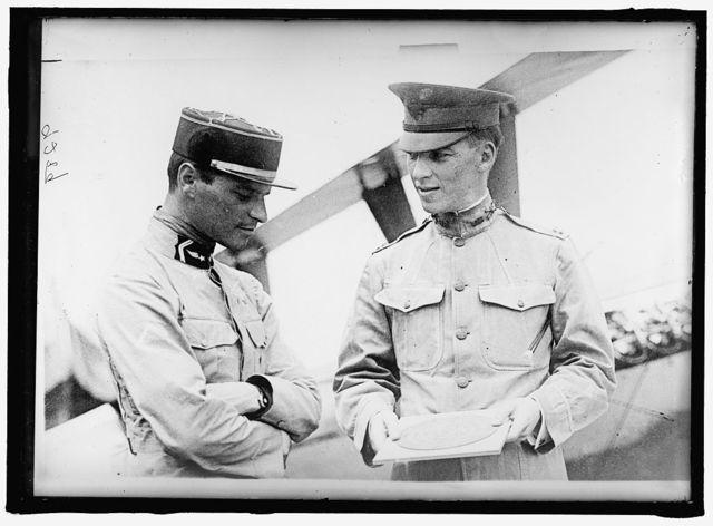 LANGLEY FIELD, VA. LT. E. LeMAITRE AND CAPT. BOATWRIGHT, BESIDE KIRKHAM TRIPLANE