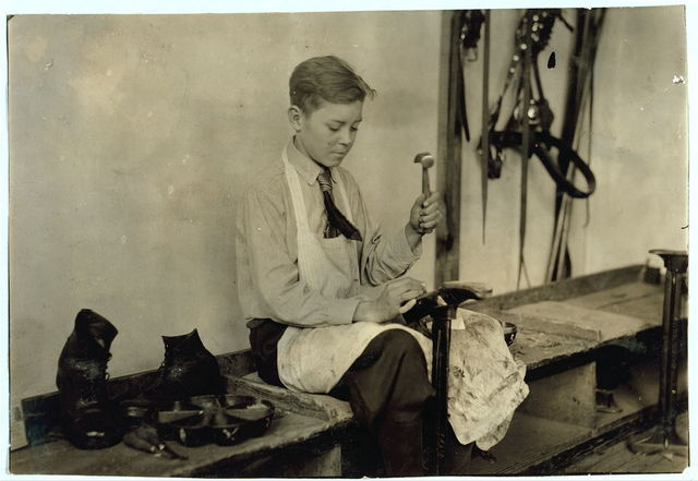 Learning to make shoes. Training School for Deaf Mutes. See 4843-4851.  Location: Sulphur, Oklahoma / Lewis W. Hine.
