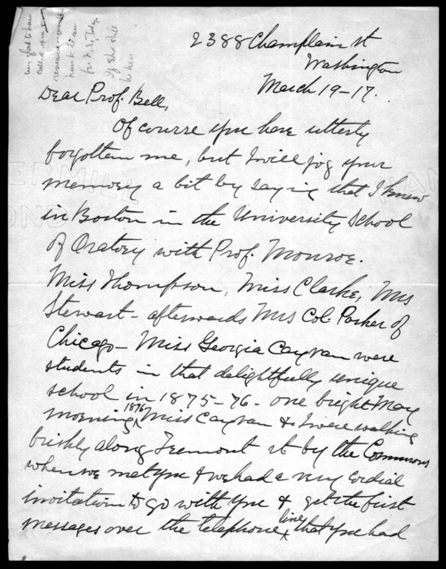 Letter from Anna N. Kendall to Alexander Graham Bell, March 19, 1917