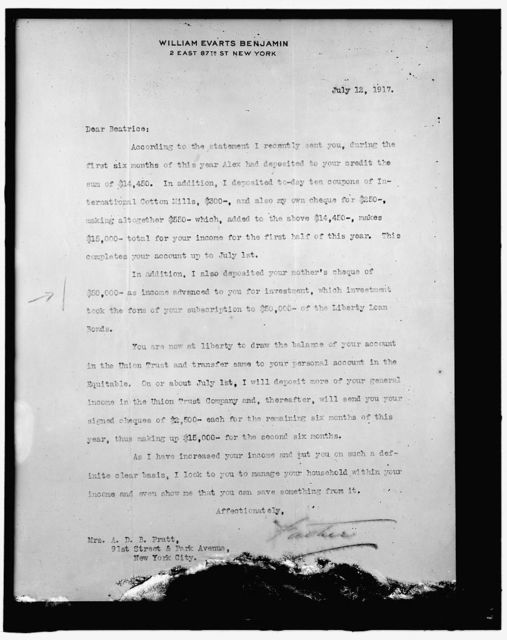 [Letter to Mrs. A.D.B. Pratt from William Evarts Benjamin]