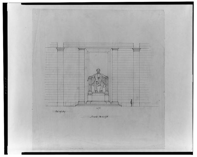 [Lincoln Memorial (Washington, D.C.). Interior with sculpture. Elevation. Rendering]