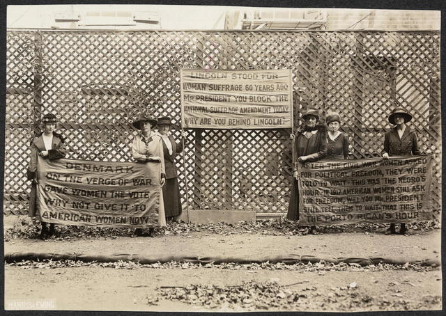 Lincoln's birthday. On the banners during Congressional debate on whether we should enter the war.